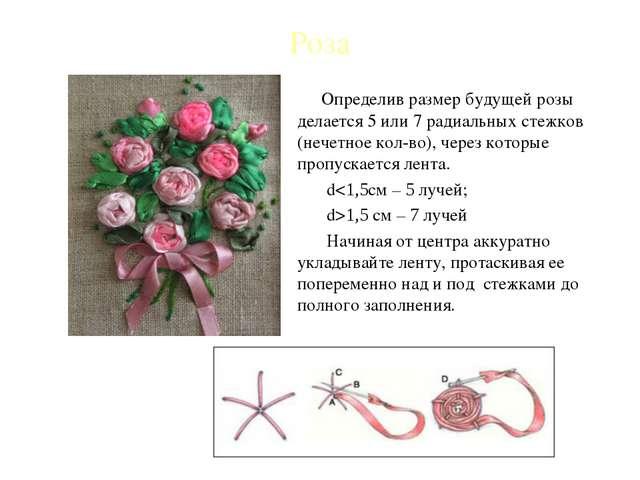 Роза Определив размер будущей розы делается 5 или 7 радиальных стежков (нечет...
