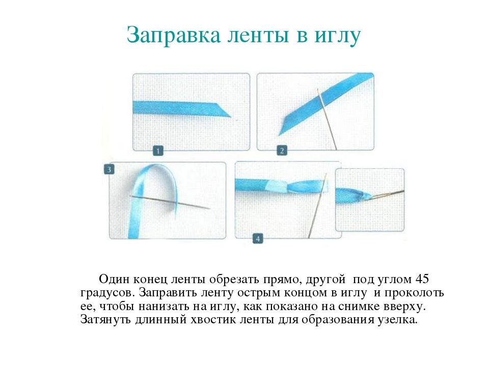 Заправка ленты в иглу Один конец ленты обрезать прямо, другой под углом 45 гр...