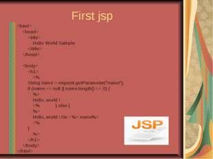 First jsp    Hello World Sample