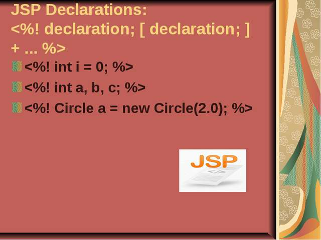 JSP Declarations: