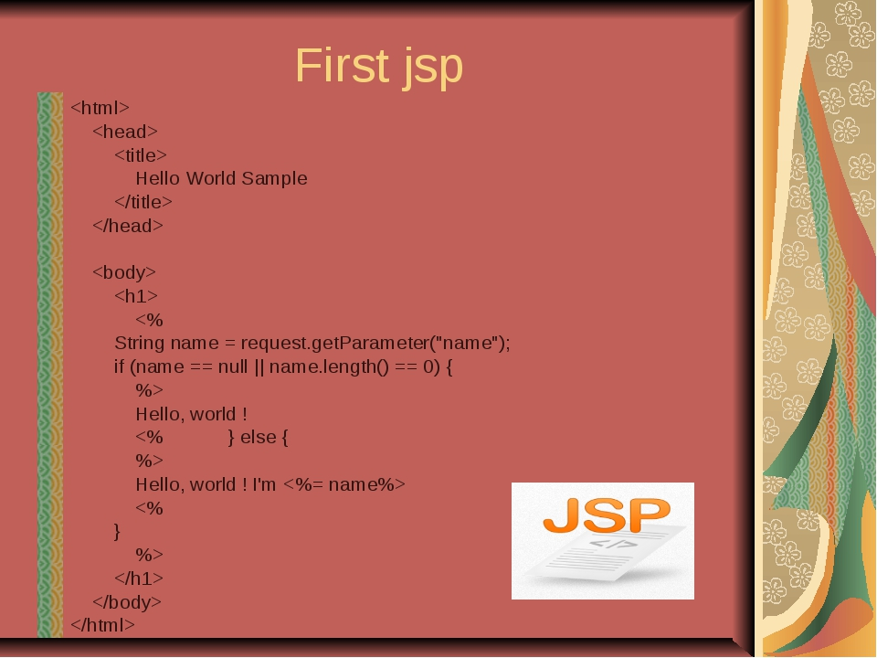 First jsp    Hello World Sample    ...