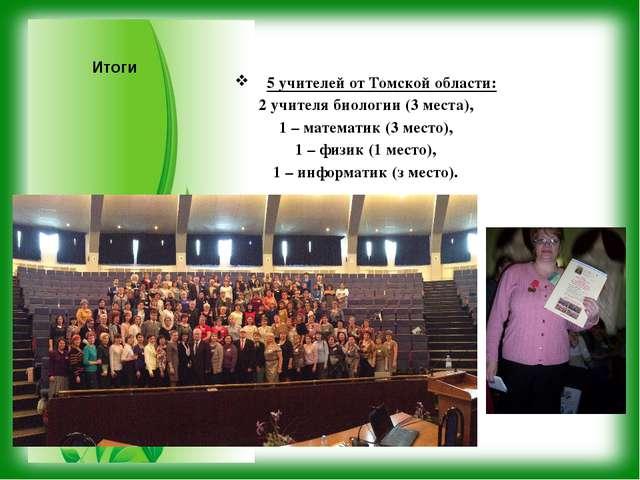 Итоги 5 учителей от Томской области: 2 учителя биологии (3 места), 1 – матема...
