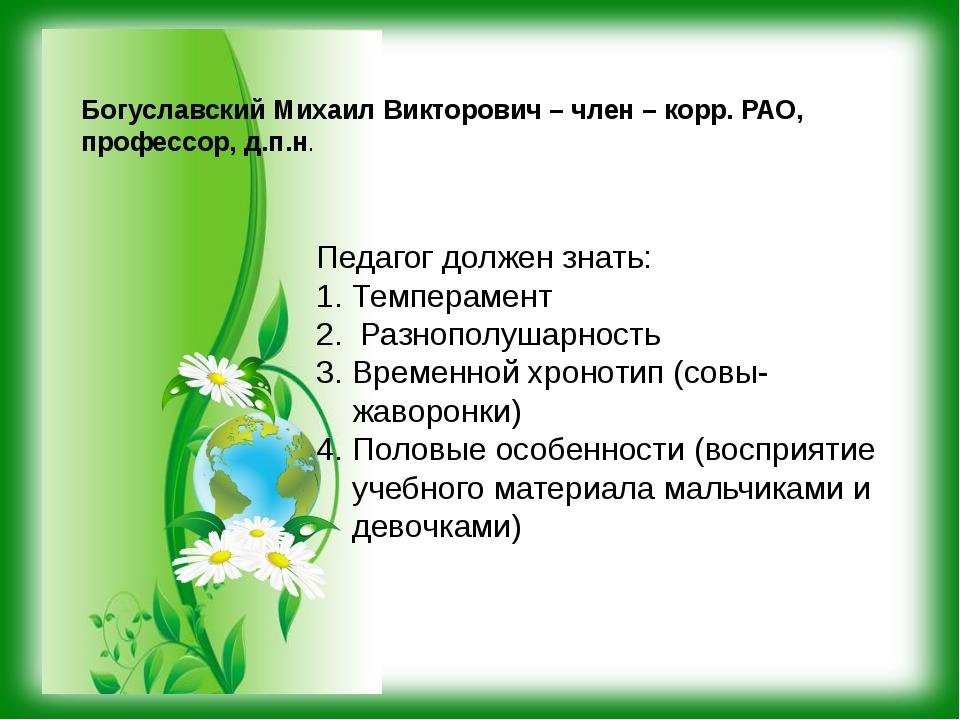Богуславский Михаил Викторович – член – корр. РАО, профессор, д.п.н. Педагог...