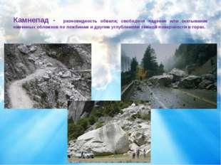 Камнепад - разновидность обвала; свободное падение или скатывание каменныхо