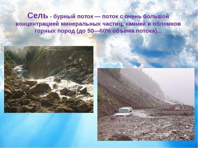 Сель - бурный поток — поток с оченьбольшой концентрацией минеральных частиц,...