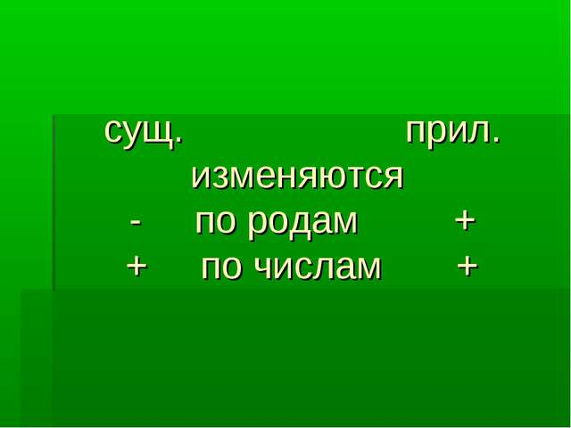 сущ. прил. изменяются - по родам + + по числам +