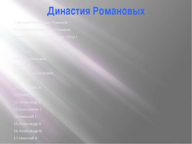 Династия Романовых 1.Михаил Фёдорович Романов 2.Алексей Михайлович Романов 3....