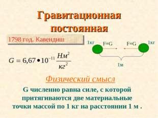 Гравитационная постоянная 1м F=G F=G 1кг 1кг Физический смысл G численно равн