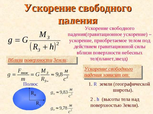 Ускорение свободного падения Ускорение свободного падения(гравитационное уско...
