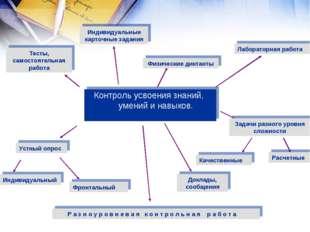 Контроль усвоения знаний, умений и навыков. Р а з н о у р о в н е в а я к о н