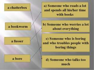 a chatterbox a fusser a bore a bookworm a) Someone who reads a lot and spends