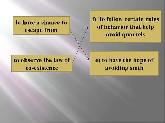 e) to have the hope of avoiding smth f) To follow certain rules of behavior t...