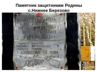 Памятник защитникам Родины с.Нижнее Березово