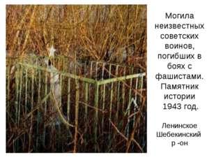 Могила неизвестных советских воинов, погибших в боях с фашистами. Памятник ис
