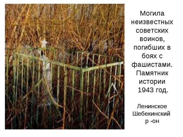 Могила неизвестных советских воинов, погибших в боях с фашистами. Памятник ис...