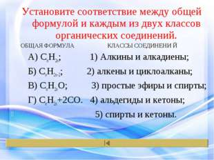 Установите соответствие между общей формулой и каждым из двух классов органич