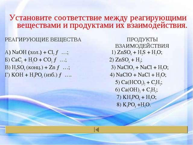 Установите соответствие между реагирующими веществами и продуктами их взаимод...