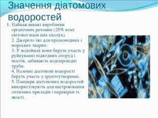 Значення діатомових водоростей 1. Найважливіші виробники органічних речовин (
