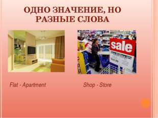 ОДНО ЗНАЧЕНИЕ, НО РАЗНЫЕ СЛОВА Flat - Apartment Shop - Store