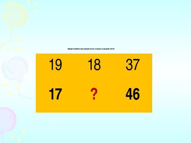 Найдите правило нахождения числа, стоящего в средней клетке 19 18 37 17 ? 46