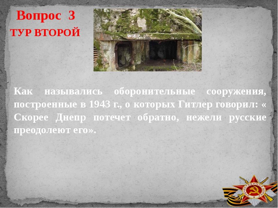 Вопрос 3 ТУР ВТОРОЙ Как назывались оборонительные сооружения, построенные в 1...