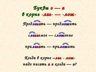 Буквы о — а в корне -лаг- — -лож- Предлагать — предложить слагаемое — сложени