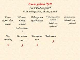 Лист учёта ЗУН (на каждый урок) Ф.И. учащегося, число, тема Блиц-опрос: «да»,