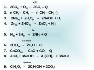 V2O5 2SO2(г) + O2(г) ↔ 2SO3 – Q n CH2 = CH2 → (- CH2 - CH2 -)n 2Na(тв) + 2H2