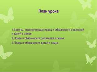 План урока 1.Законы, определяющие права и обязанности родителей и детей в сем
