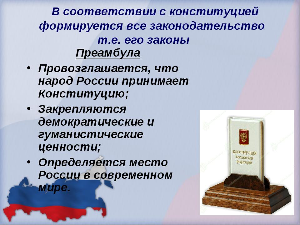 В соответствии с конституцией формируется все законодательство т.е. его зако...
