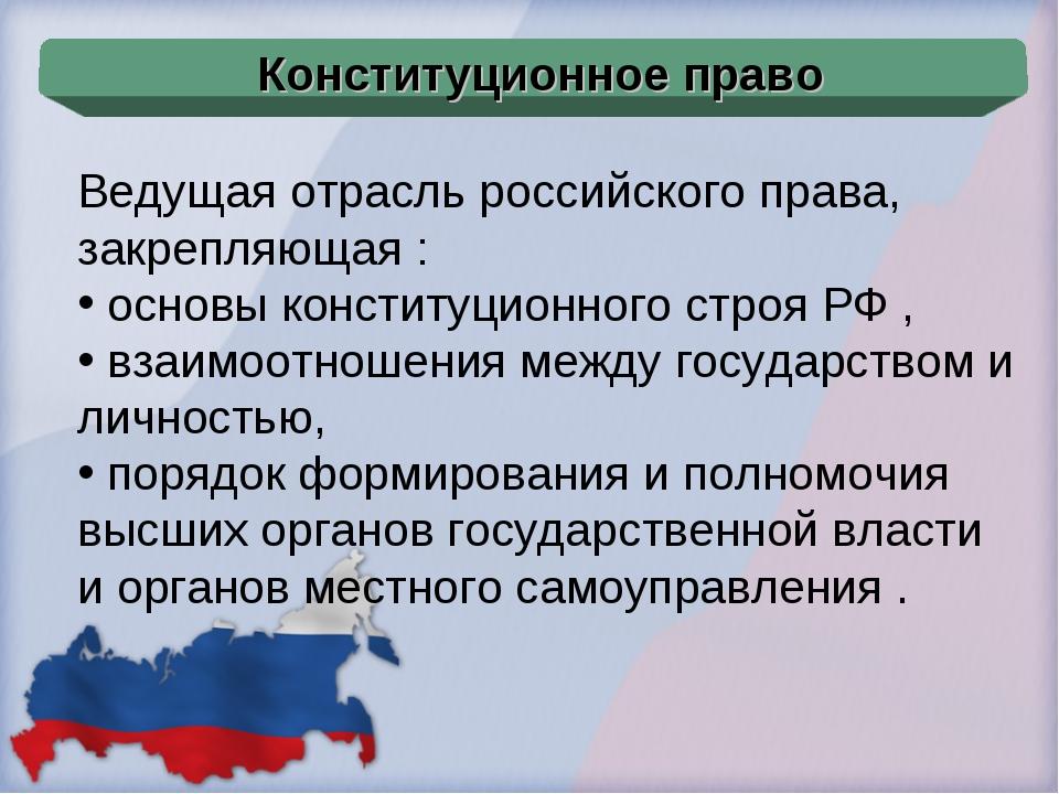 Ведущая отрасль российского права, закрепляющая : основы конституционного стр...