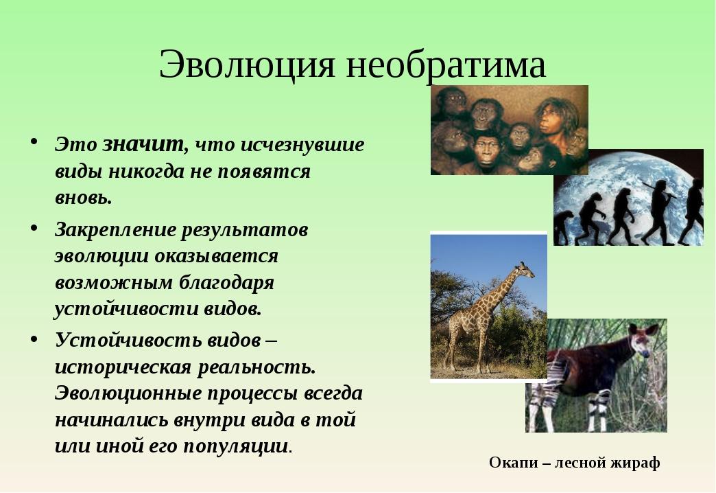 Эволюция необратима Это значит, что исчезнувшие виды никогда не появятся внов...