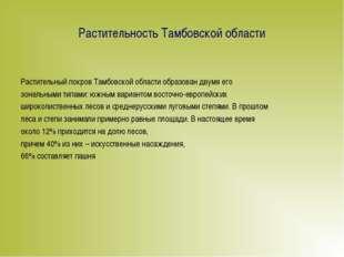 Растительность Тамбовской области Растительный покров Тамбовской области обра