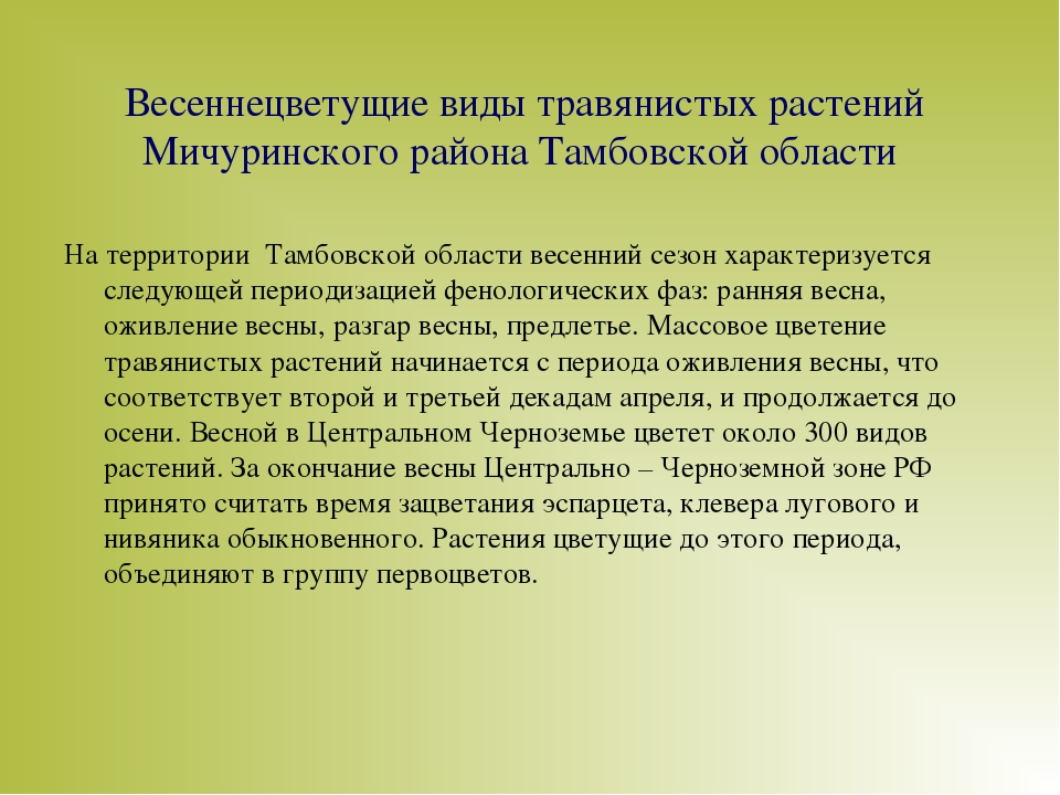 Весеннецветущие виды травянистых растений Мичуринского района Тамбовской обла...