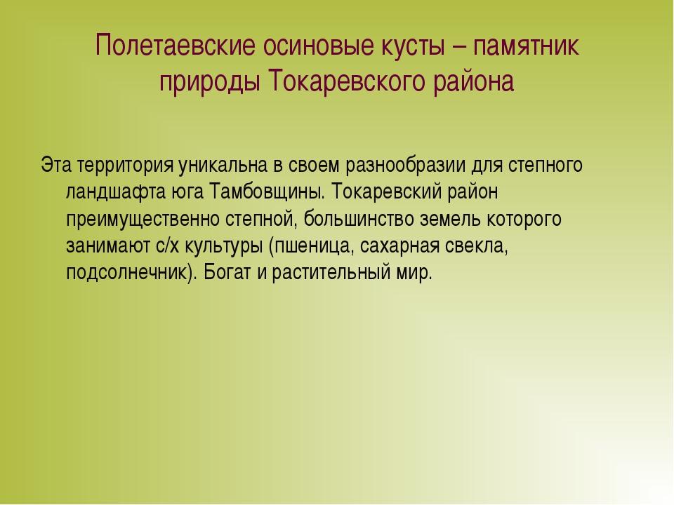 Полетаевские осиновые кусты – памятник природы Токаревского района Эта террит...