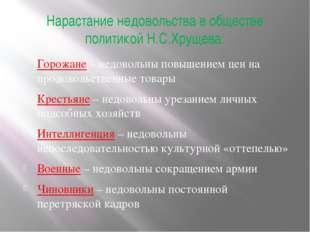 Нарастание недовольства в обществе политикой Н.С.Хрущева: Горожане – недоволь