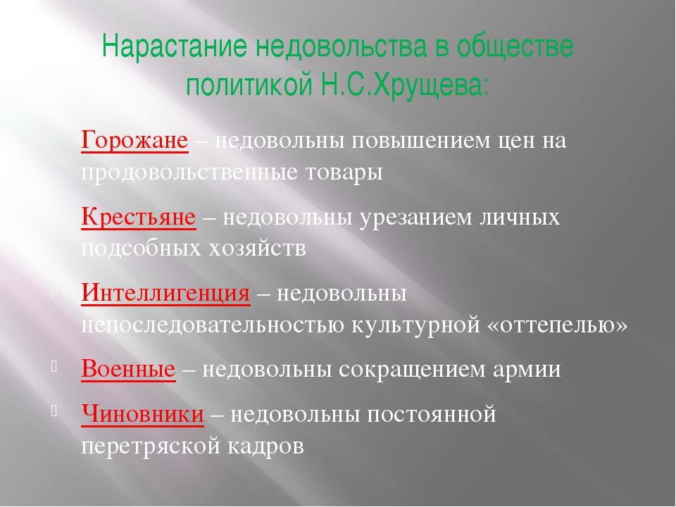 Нарастание недовольства в обществе политикой Н.С.Хрущева: Горожане – недоволь...