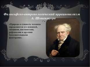 Философско-антропологический иррационализм А. Шопенгауэра «Природа и сущность