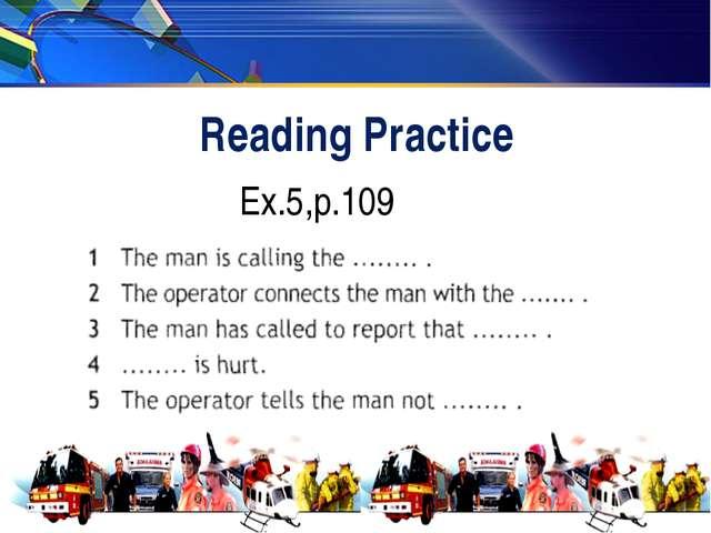 Reading Practice Ex.5,p.109