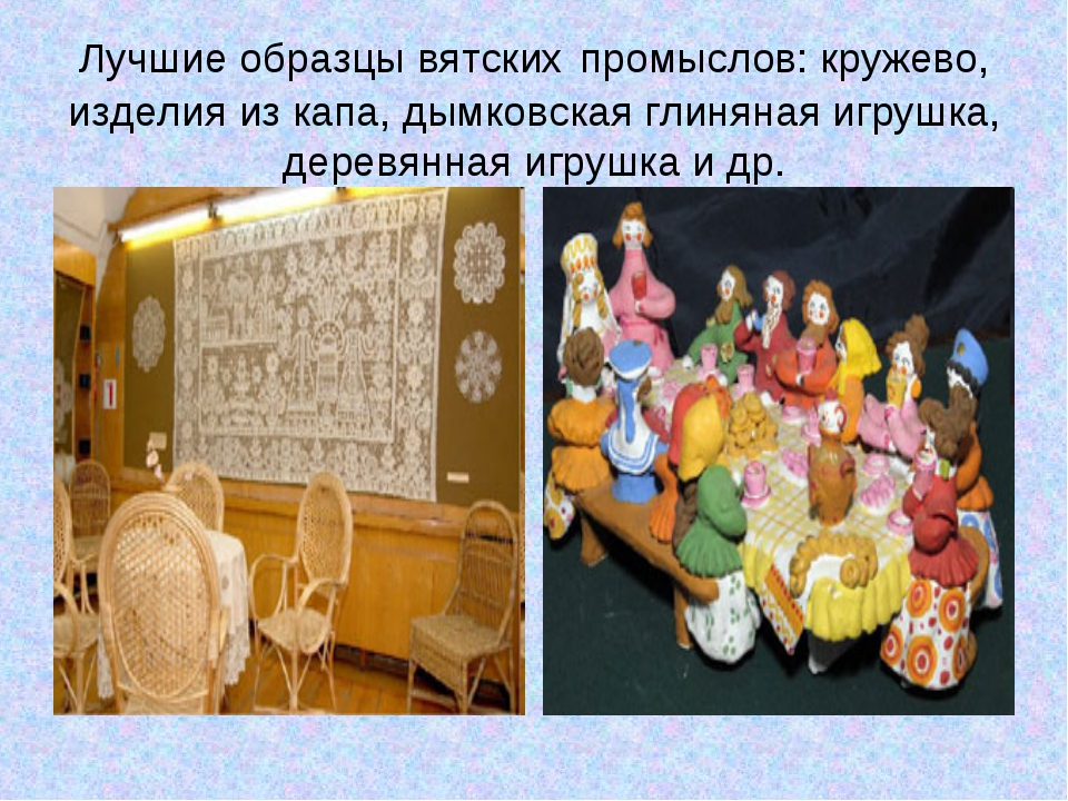 Лучшие образцы вятских промыслов: кружево, изделия из капа, дымковская глинян...