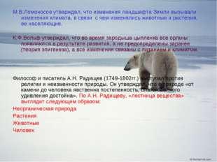 М.В.Ломоносов утверждал, что изменения ландшафта Земли вызывали изменения кли