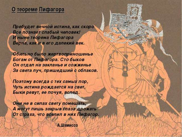 О теореме Пифагора Пребудет вечной истина, как скоро Все познает слабы...