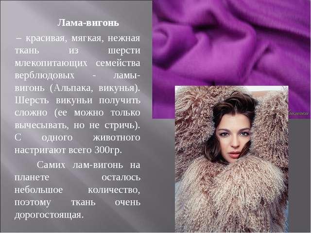 Лама-вигонь – красивая, мягкая, нежная ткань из шерсти млекопитающих семейст...