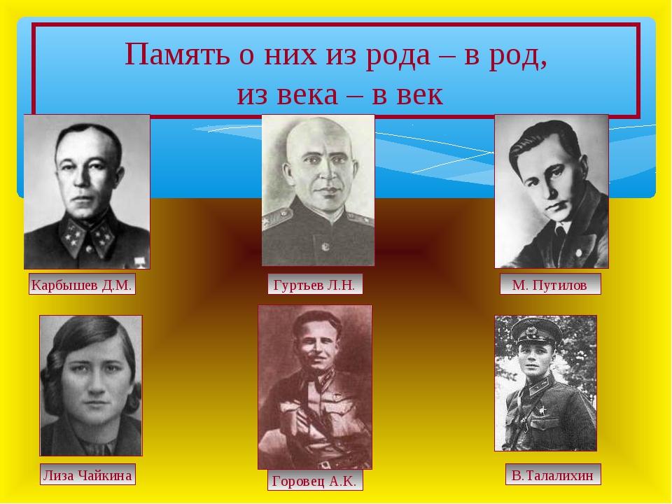 Память о них из рода – в род, из века – в век Карбышев Д.М. Гуртьев Л.Н. М. П...