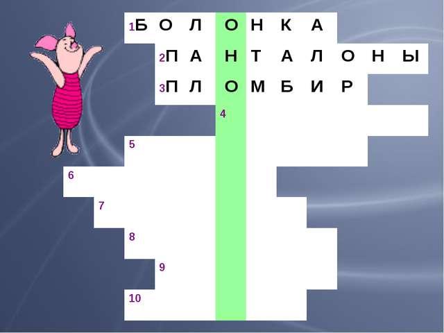 1БОЛ ОНКА 2ПА НТАЛОНЫ 3ПЛ ОМБИР 4 5...