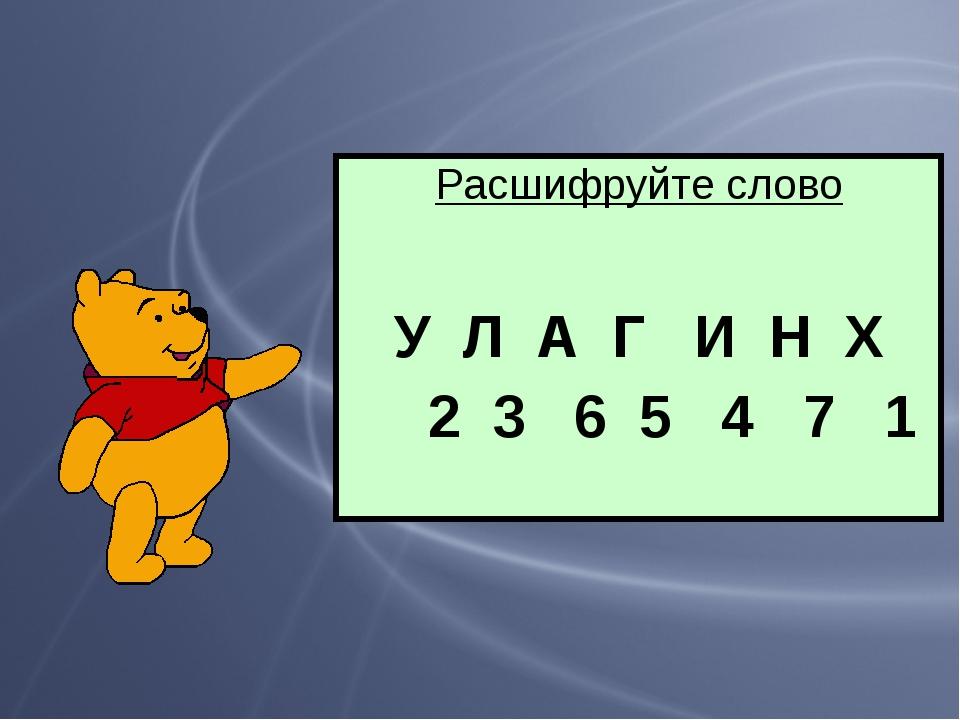 Расшифруйте слово У Л А Г И Н Х 2 3 6 5 4 7 1
