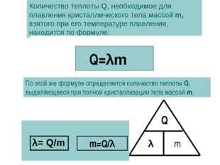 Количество теплоты Q, необходимое для плавления кристаллического тела массой