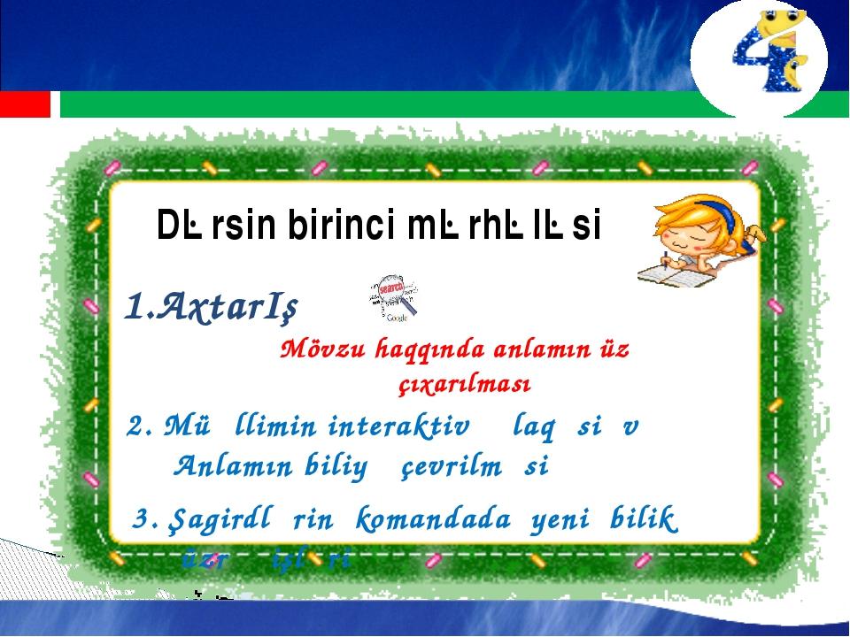 Dərsin birinci mərhələsi 1.AxtarIş Mövzu haqqında anlamın üzə çıxarılması 2....