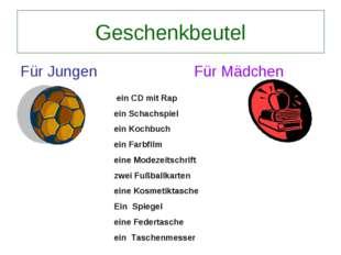 Geschenkbeutel Für Jungen Für Mädchen ein CD mit Rap ein Schachspiel ein Koch