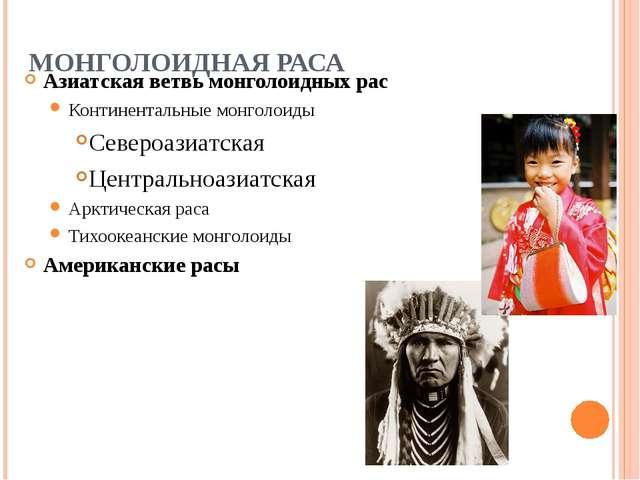 МОНГОЛОИДНАЯ РАСА Азиатская ветвь монголоидных рас Континентальные монголоиды...